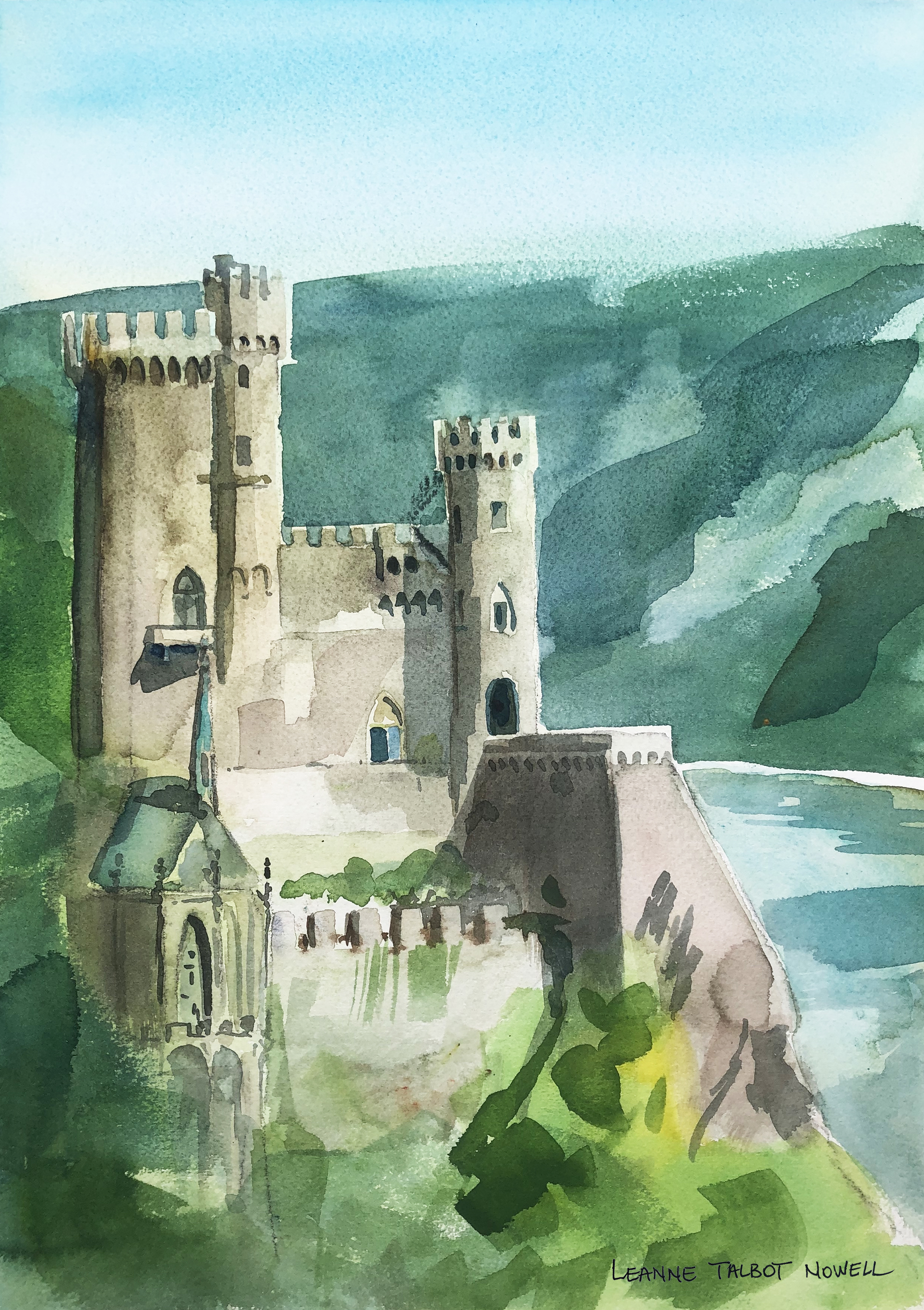 Rheinstein Castle on the Rhine river, watercolour by Leanne Talbot Nowell