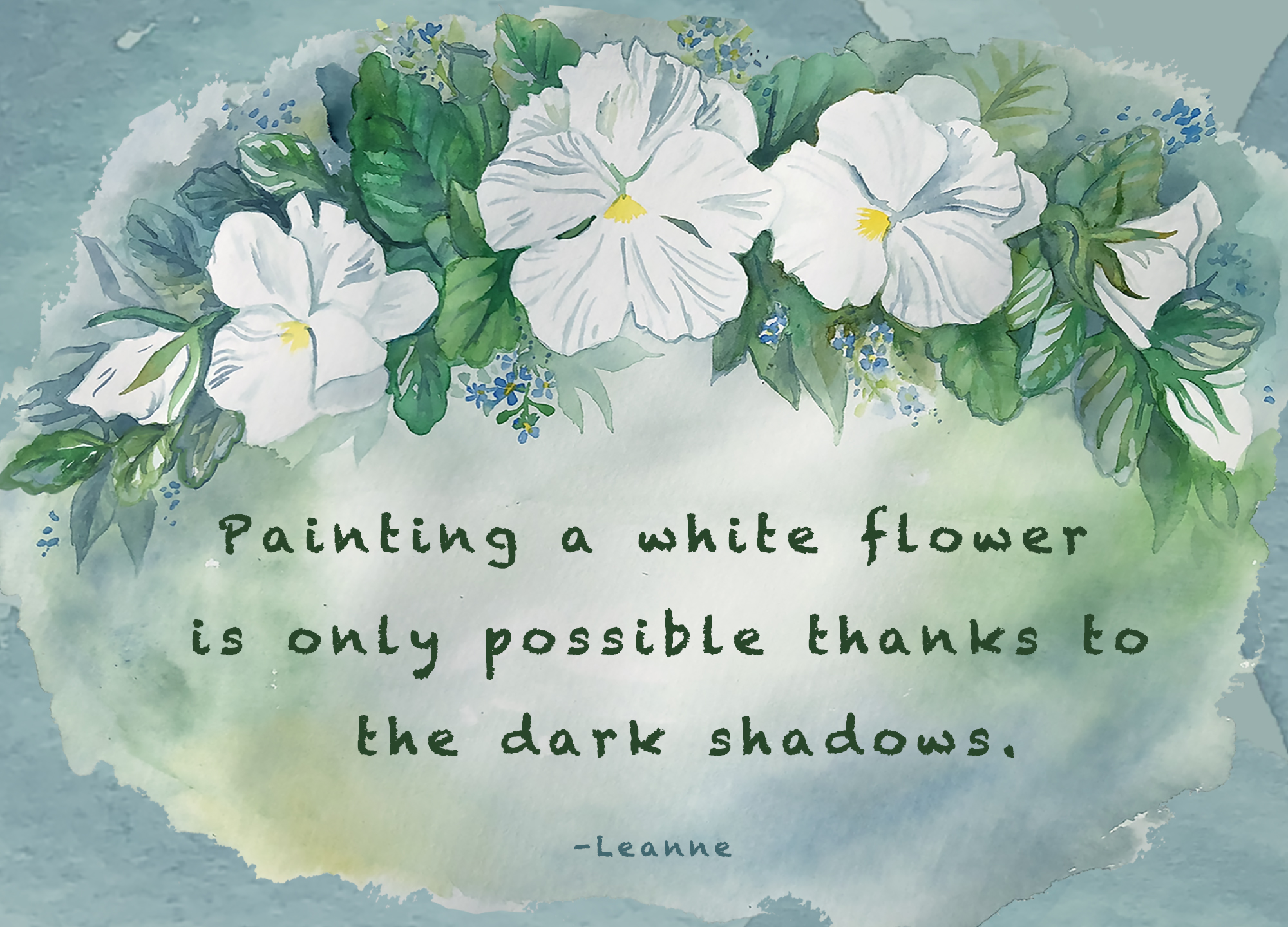 Painting a white flower