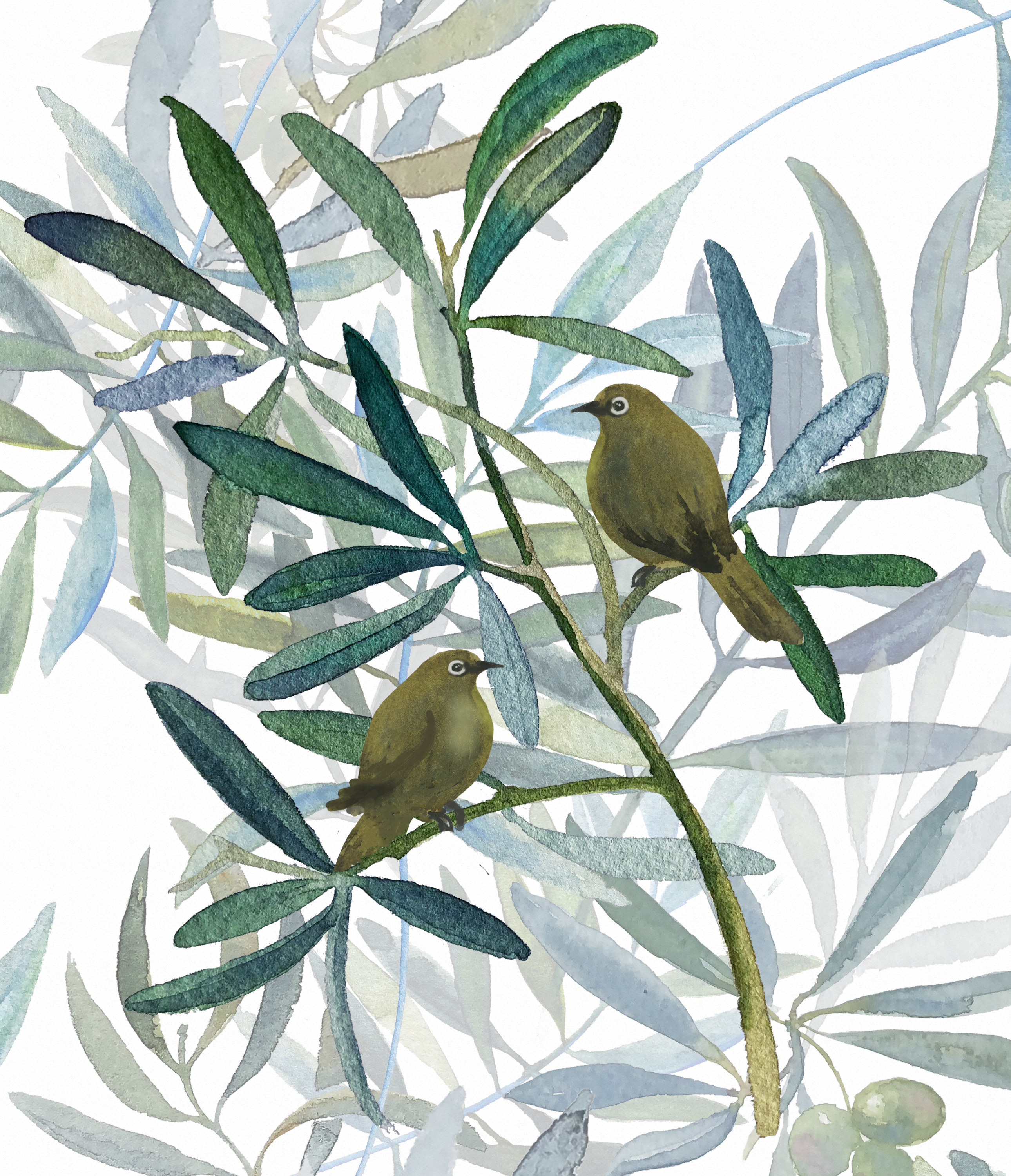 Leanne Talbot Nowell olives & birds painting