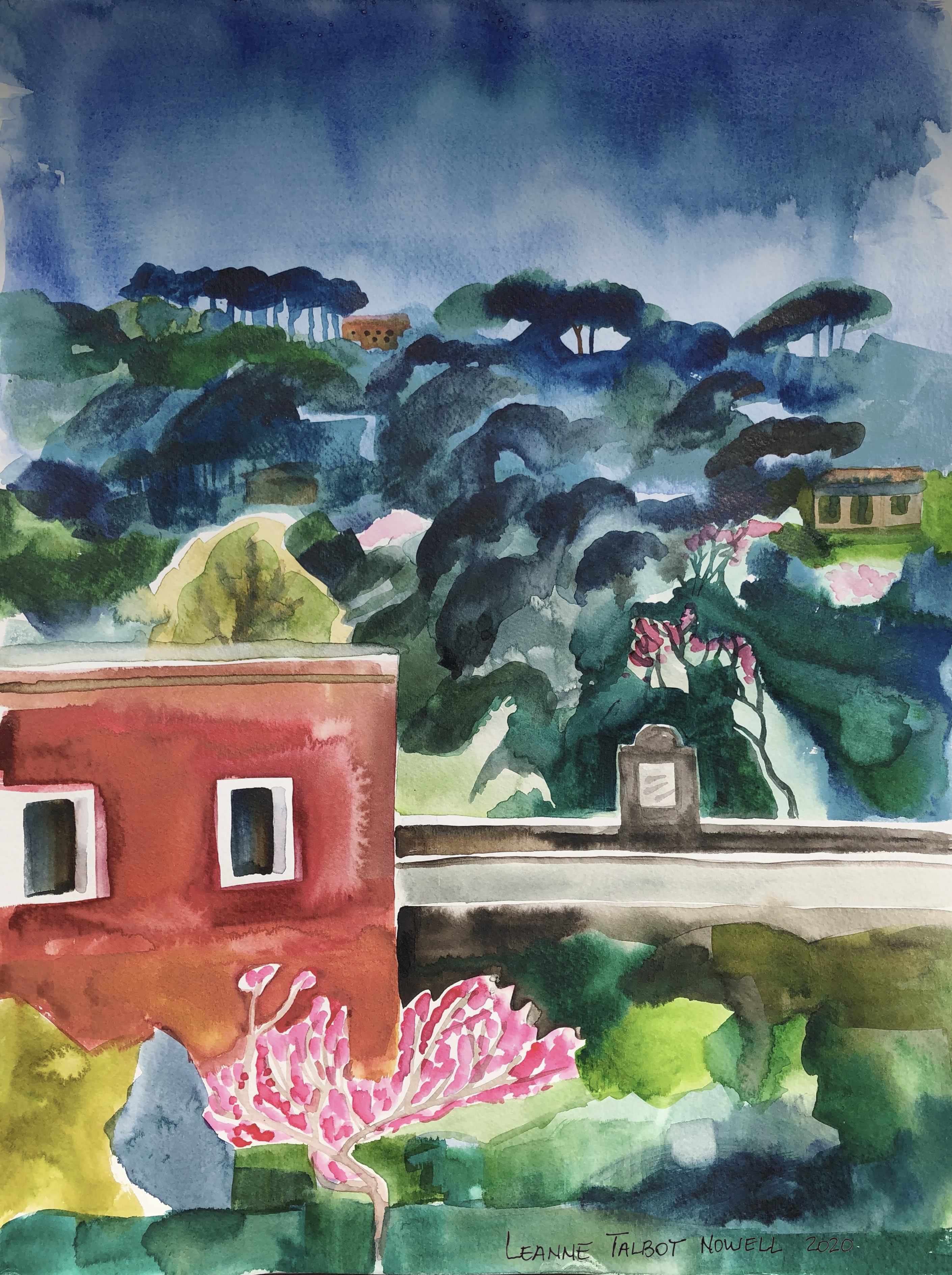 kitchen view watercolour by Leanne Talbot Nowell