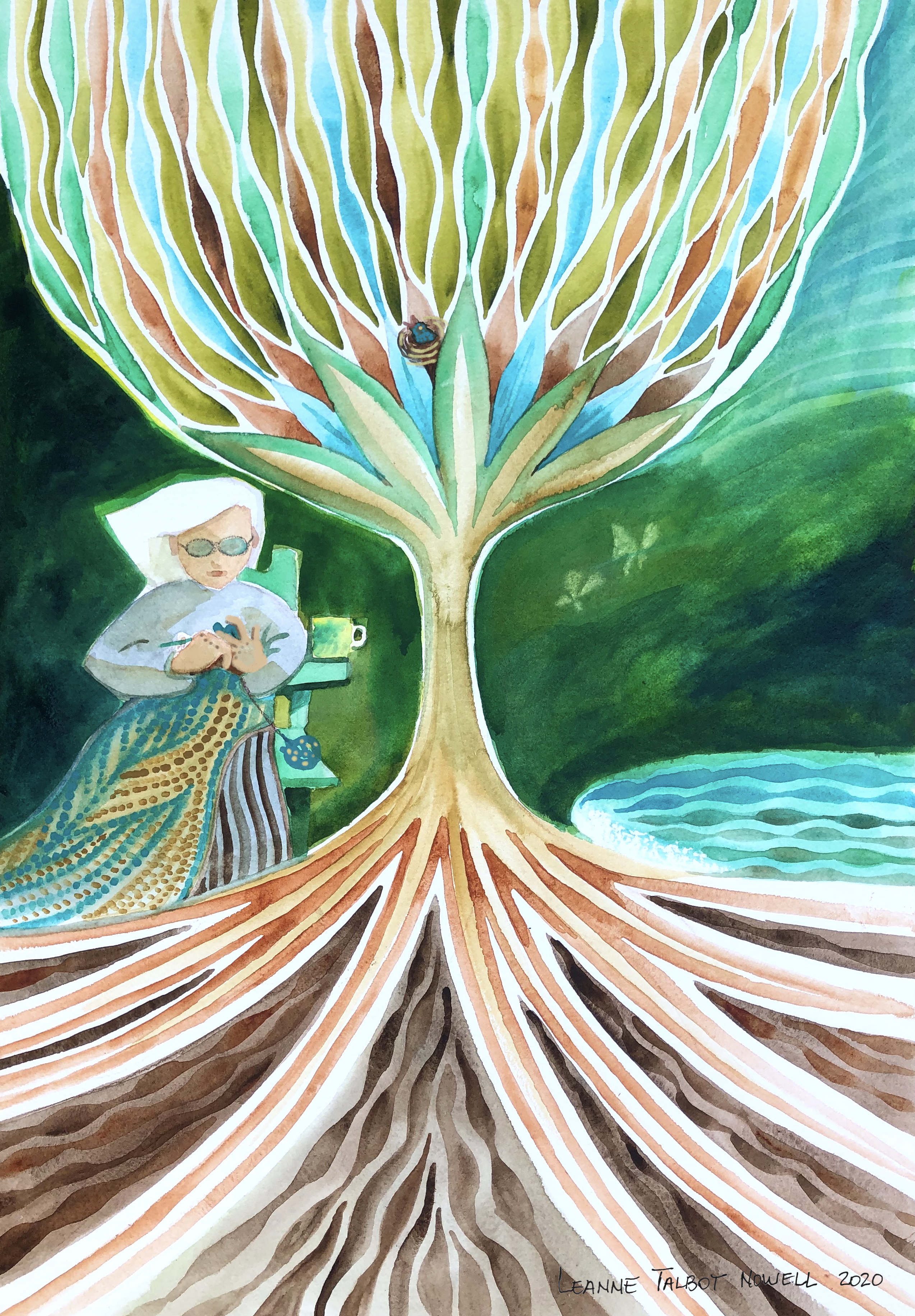 Mother under her tree, watercolour painting by Leanne Talbot Nowell