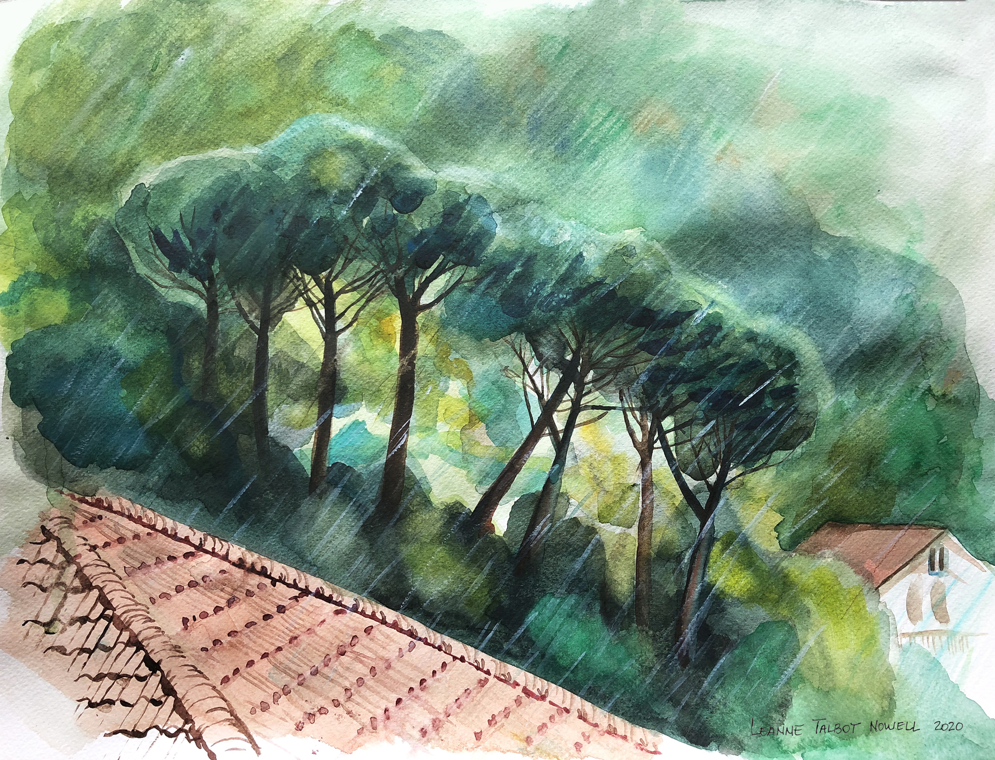 A rainy day - watercolour painting by Leanne Talbot Nowell