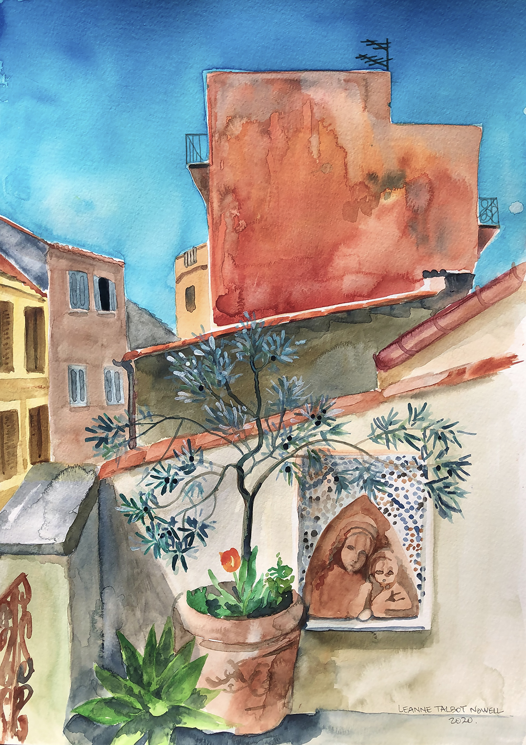 red wall in Marino, watercolour painting by Leanne Talbot Nowell