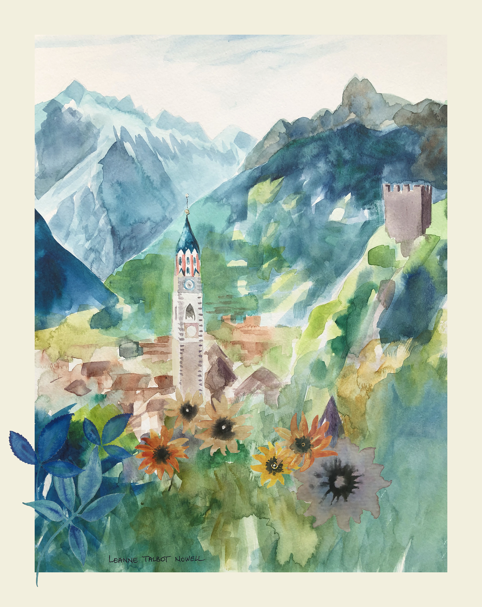 Merano - watercolour by Leanne Talbot Nowell