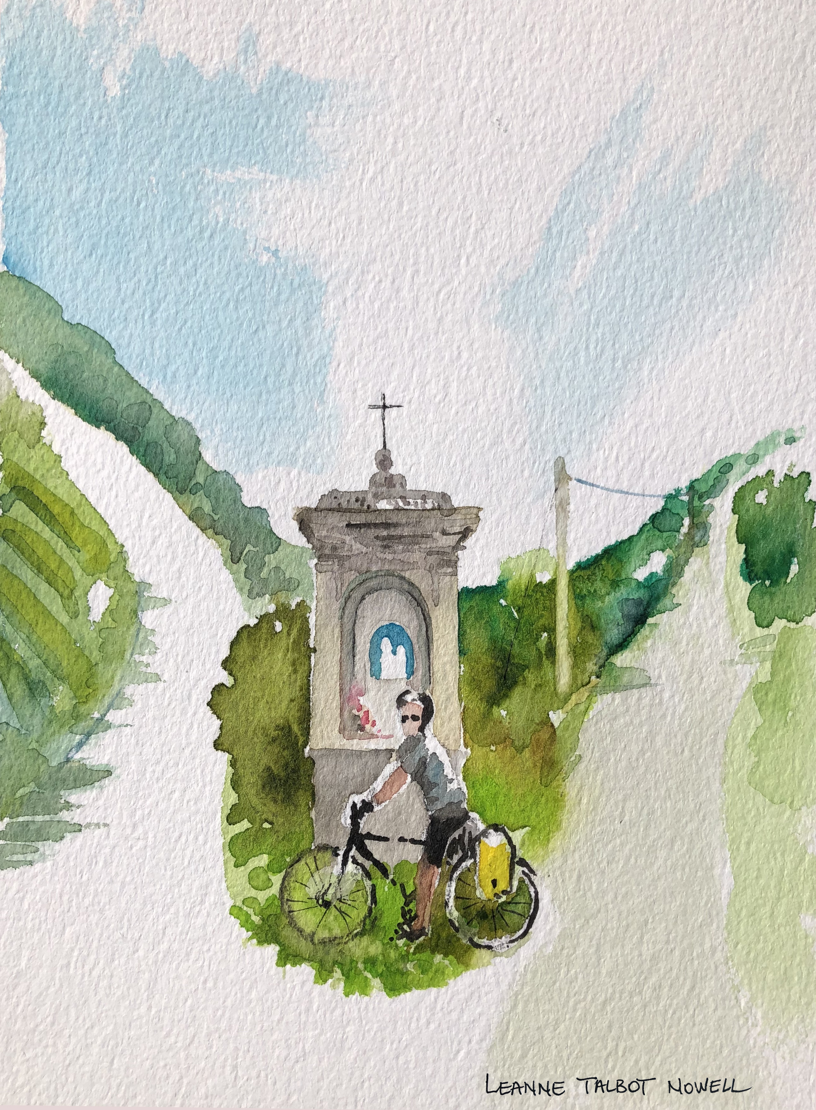 Day 7 Simon at a shrine, watercolour painting by Leanne Talbot Nowell