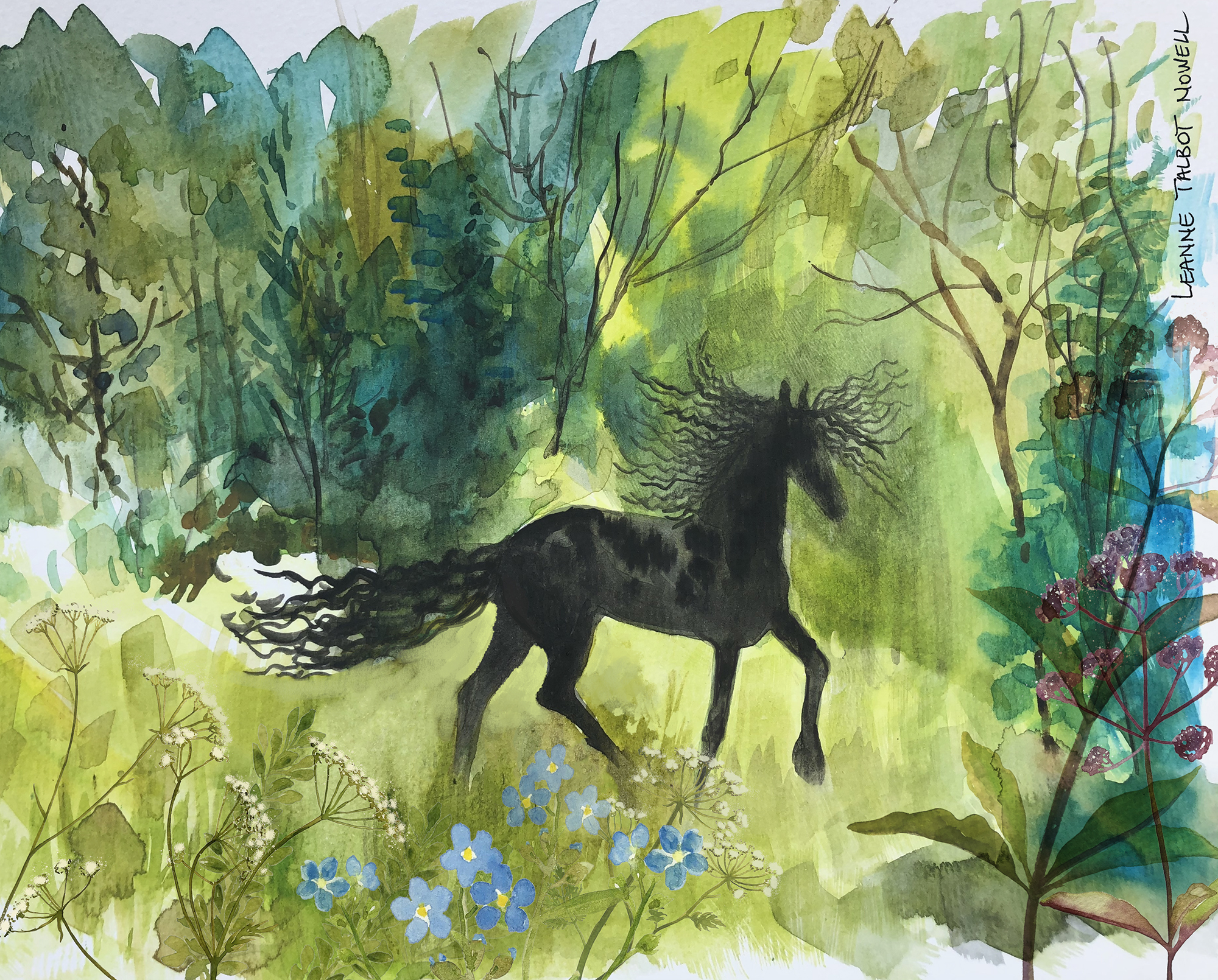 Friesian horse in the forest