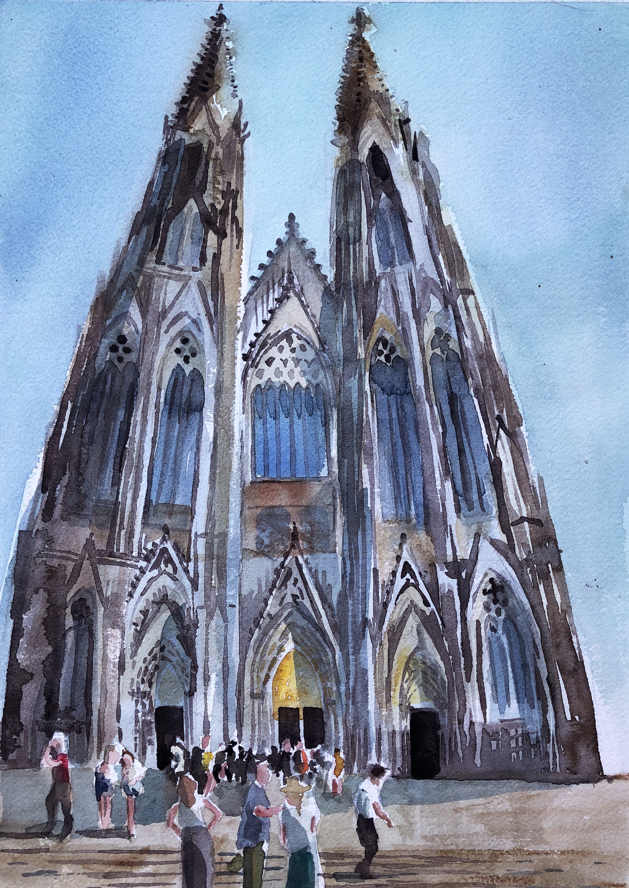 Watercolour painting of Cologne cathedral by Leanne Talbot Nowell