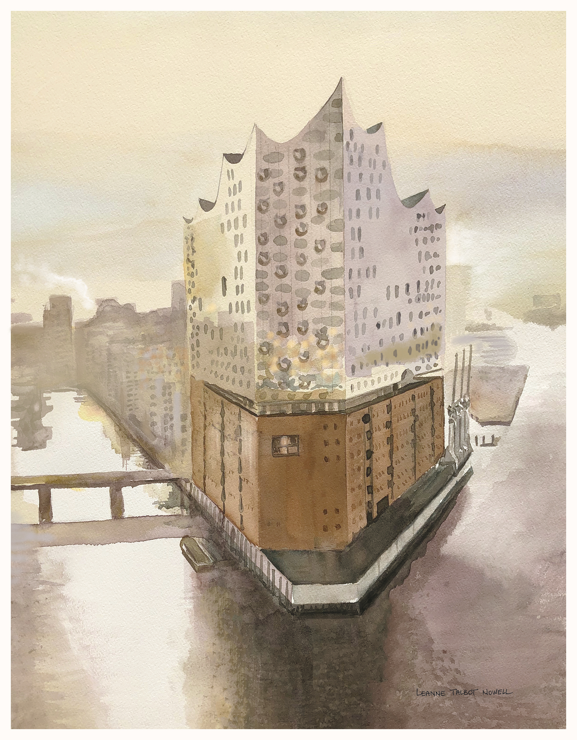 Elbphilharmonie Hamburg, watercolour by Leanne Talbot Nowell