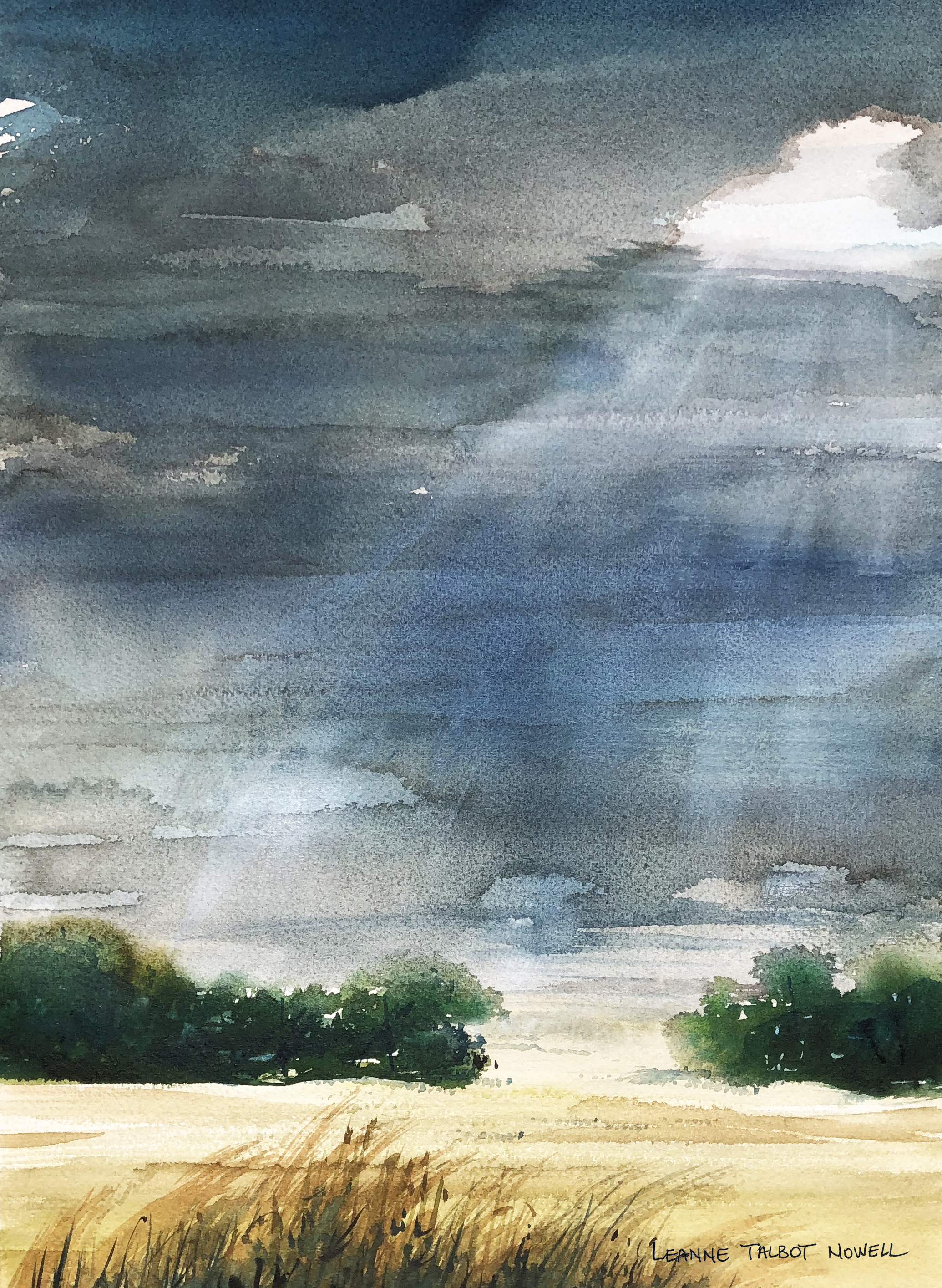 Denmark sky watercolor by Leanne Talbot Nowell
